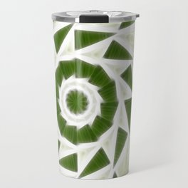Green White Kaleidoscope Art 3 Travel Mug