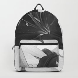 Contemporary Black Lily Flower Floral Art A116 Backpack