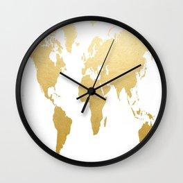 Gold Map Print Wall Clock