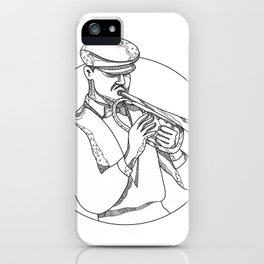 Jazz Musician Playing Trumpet Doodle Art iPhone Case
