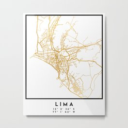 LIMA PERU CITY STREET MAP ART Metal Print