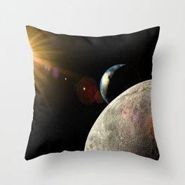 Moon Earth Sun lens flare Throw Pillow