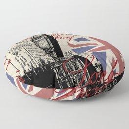 London Great Britain Big Ben Flag Collage Floor Pillow