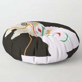 Horse head skull of Mari Lwyd celebration Wales good luck Floor Pillow
