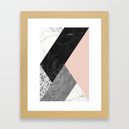 Black and White Marbles and Pantone Pale Dogwood Color Framed Art Print