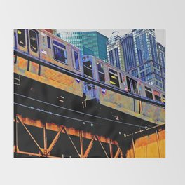 Chicago 'L' in multi color: Chicago photography - Chicago Elevated train Throw Blanket