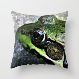 Frog Close-Up Throw Pillow