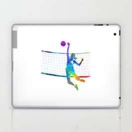 Woman volleyball player in watercolor Laptop & iPad Skin