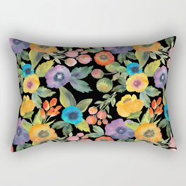 Poppies on Black Rectangular Pillow