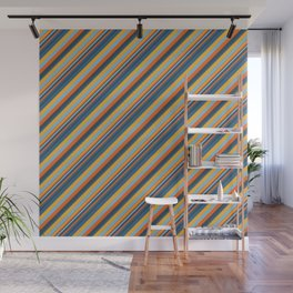 Indigo Orange Sky Blue Inclined Stripe Wall Mural
