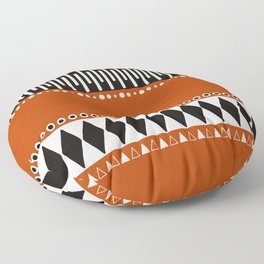 Bohemian orange, black&white tribal vibe Floor Pillow