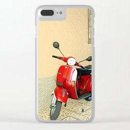 Vespa in Red Clear iPhone Case
