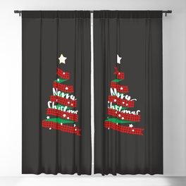 Merry Christmas Buffalo Checks Ribbon Tree Blackout Curtain