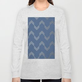 Simply Deconstructed Chevron White Gold Sands  on Aegean Blue Long Sleeve T-shirt