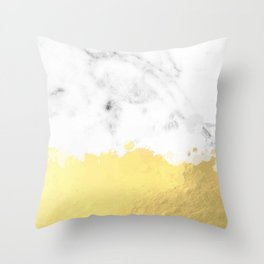 Gold spill on marble Throw Pillow