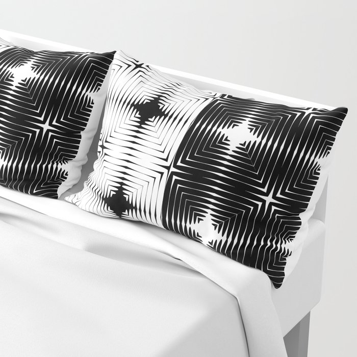 Abstract tile made of white and black stretches of kradratov, rhombuses and stars. Pillow Sham
