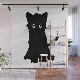 sweet black kitten digital painting Wall Mural