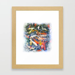 Koi Carp Splash Framed Art Print