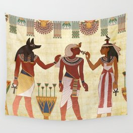 egyptian design man woman priest Wall Tapestry
