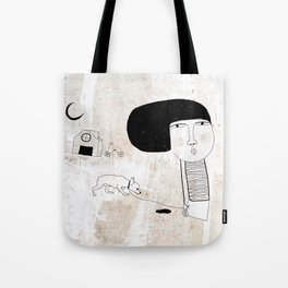 Just walking with pet Tote Bag