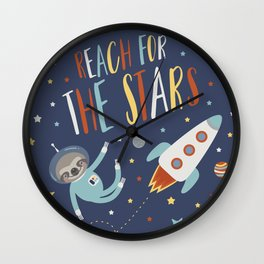 Space Sloth Reach the Stars Wall Clock