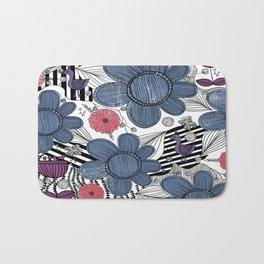 Whimsical Floral Pattern Bath Mat