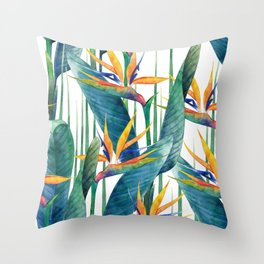 Watercolor strelitzia Throw Pillow
