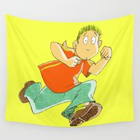 running Wall Tapestries featuring Running boy by Carlo Toffolo