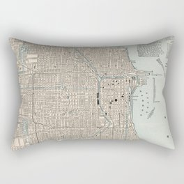 Vintage Map of Chicago (1893) Rectangular Pillow