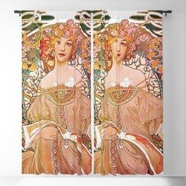 Reverie by Alphonse Mucha Blackout Curtain