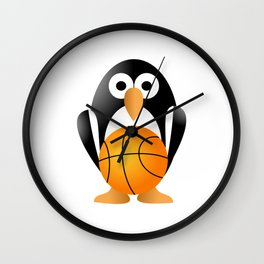 Funny penguin with a basketball ball Wall Clock