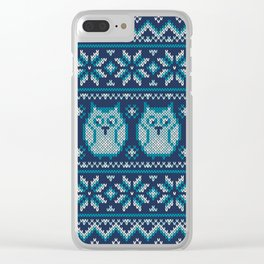 Owls winter knitted pattern Clear iPhone Case