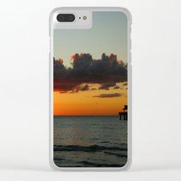 Naples Pier Sunset Clear iPhone Case