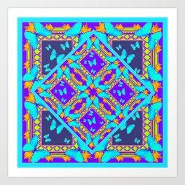 Western Style Purple Turquoise Butterflies Creamy Gold Patterns Art Print