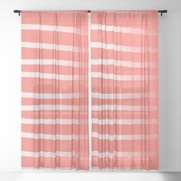 Living Coral Rose Gold Simply Drawn Stripes Sheer Curtain