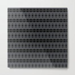 Black and White Geometric Aztec Tribal Pattern Metal Print