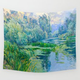 Václav Radimský (1867-1946) At The Confluence Colorful Bright Impressionist Oil Landscape Painting Wall Tapestry