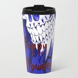 Happy Halloween, Blue demonic skull, spooky artwork, horror design Travel Mug