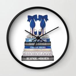 Navy, Books, Fashion books, Fashion, Fashion art, fashion poster, fashion wall art, Shoes Wall Clock