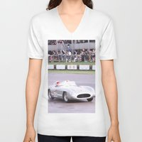 mercedes V-neck T-shirts featuring Mercedes Benz Silberpfeil with Stirling Moss by Premium