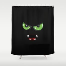Evil face with green eyes Shower Curtain