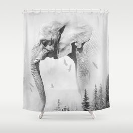 Elephant | Animal Photography | B&W | Nature | Fog | Wildlife | Abstract | Landscape Shower Curtain