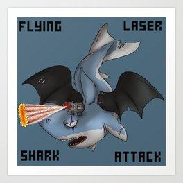 Flying laser Shark Attack Art Print