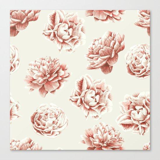Rose Garden Vintage Rose Pink and Cream Canvas Print