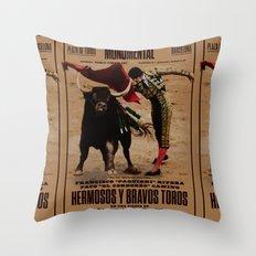 Hermosos y Bravos Toros Throw Pillow