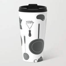 Kitchen Tools (black on white) Metal Travel Mug