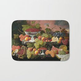 Two-Tiered Still Life with Fruit and Sunset Landscape Bath Mat