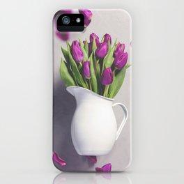 Levitating purple tulips against old concrete background iPhone Case