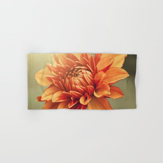 Orange Dahlia #2 * Garden Flowers Floral Blossom Nature Hand & Bath Towel