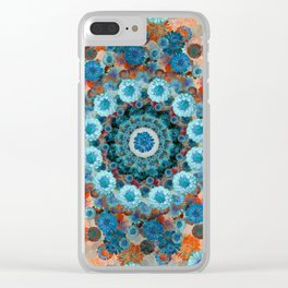 Happy orange background Clear iPhone Case